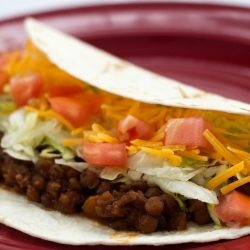Folded tortilla with lentils, shredded lettuce, diced tomatoes, and shredded cheddar cheese on a red plate.