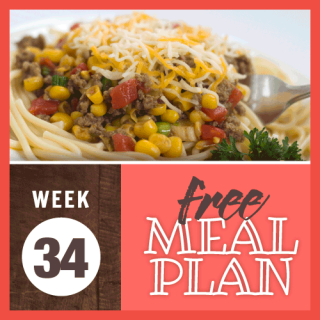 Meal Plan Week 34 2019; image of spaghetti topped with cooked ground beef mixed with corn, tomatoes, and onions and sprinkled with grated Mexican blend cheese