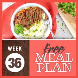 Free Meal Plan Week 36 2019; image of overhead shot showing sliced Swiss steak with a tomato-based sauce of carrots, celery, and onions all served over buttered mashed potatoes