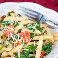 Pasta Carbonara with Tomatoes and Spinach