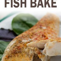 Seasoned fish filet on a white plate with a fork lifting one bite; text spiced fish bake add salt & serve formerly menus4moms