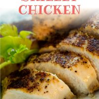 Sliced chicken garnished with parsley with text Baked Skillet Chicken - Add Salt & Serve logo