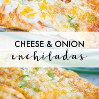 Photos of an enchilada covered with melted Mexican blend cheese and diced green onions on a clear plate with green onions in the background and text Cheese & Onion Enchiladas - add salt & serve formerly menus4moms