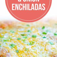 photo of a clear baking dish with enchiladas covered with cheese and diced green onions. Text cheese & onion enchiladas with text Cheese & onion Enchiladas Add Salt & Serve