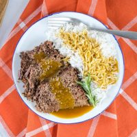 Easiest Crockpot Roast Beef with Rice and Gravy