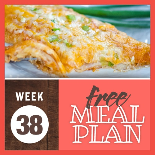 Week 38 Free Meal Plan with image showing cheese enchilada garnished with green onions with a bite on a fork
