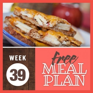 Image of open-faced sandwich with sliced apples, sunflowers, mayonnaise, and melted cheddar cheese on top with text Week 39 Free Meal Plan