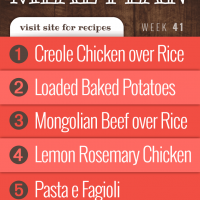 Meal Plan for Week 41 2019: Creole Chicken over Rice, Loaded Baked Potatoes, Mongolian Beef over Rice, Lemon Rosemary Chicken, Pasta E Fagioli