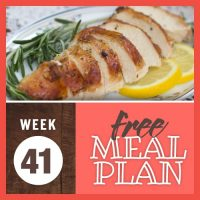 Image of sliced roasted chicken breast garnished with lemon and rosemary with text Week 41 free meal plan