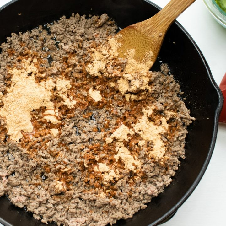 taco mix on ground beef