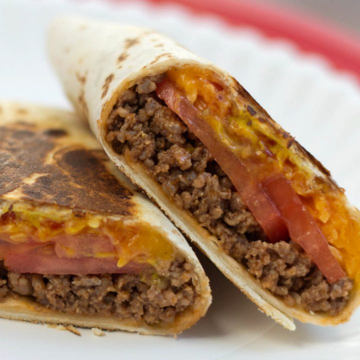 Toasted Cheeseburger Burritos