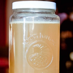 Large jar of chicken stock with a layer of fat at the top