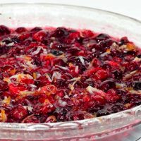 Baked cranberry sauce with bits of orange and coconut