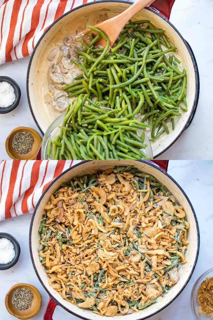 Composite image with top image showing blanched green beans being added to the same skillet, and bottom image showing skillet with green bean casserole topped with crunchy fried onions