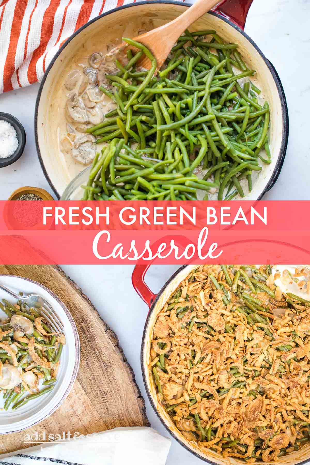Fresh green beans in one skillet and green bean casserole in a second skillet