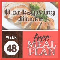 Image of sliced roasted turkey breast with text week 48 free meal plan: Thanksgiving Dinner