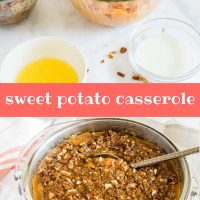 Composite image with top photo showing ingredients for sweet potato casserole and bottom photo showing baked casserole; text Sweet Potato Casserole add salt & serve