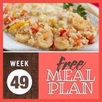 Image of cooked shrimp and rice dish on a white plate with text Week 49 free meal plan