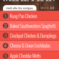 Free Weekly Meal Plan for Week 50 2019: Kung Pao Chicken, Baked Southwestern Spaghetti, Easy Crockpot Chicken and Dumplings, Cheese and Onion Enchiladas, Apple Cheddar Melts