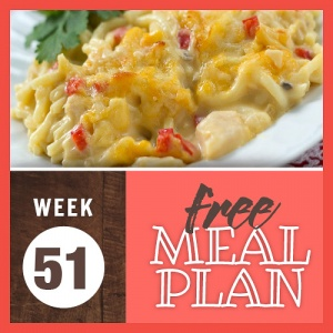 Composite image with photo of chicken and spaghetti casserole with cheese and red bell peppers and text Week 51 free meal plan