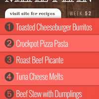Free Meal Plan for Week 52 2019: Toasted Cheeseburger Burritos, Crockpot Pizza Pasta, Roast Beef Picante (Christmas), Tuna Cheese Melts, Beef Stew with Dumplings