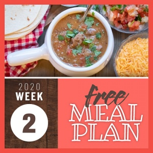 Overhead view of a white crock filled with beef stew garnished with cilantro and surrounded by a pile of tortillas and bowls of pico de gallo and shredded cheddar cheese with text Week 2 free meal plan