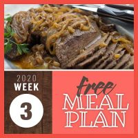 Meal Plan for Week 3 2020: January 13-17