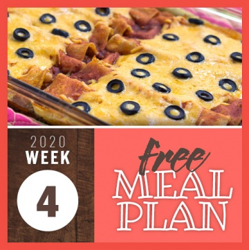 Image of a pan of enchiladas covered in red sauce and melted cheese with black olives on top and text 2020 week 4 free meal plan