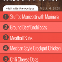 Free Meal Plan for Week 4 2020: Stuffed Manicotti with Crockpot Marinara Sauce, Ground Beef Enchiladas, Meatball Subs, Easy Mexican-Style Crockpot Chicken, Chili Dogs - Add Salt & Serve