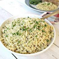 Prepared orzo in a white bowl garnished with Parmesand and Italian seasoning