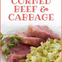 Corned beef and cabbage on a white plate garnished with a sprig of parsle; text Easy Corned Beef & Cabbage Add Salt & Serve formerly Menus4Moms
