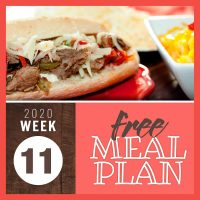Meal Plan for Week 11 2020: March 9-13