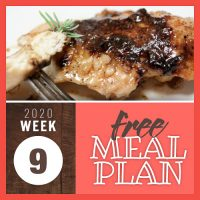 Meal Plan for Week 9 2020: February 24-28