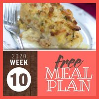 Meal Plan for Week 10 2020: March 2-6
