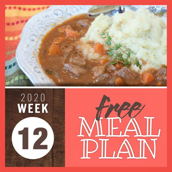 Beef and Guinness Stew with mashed potatoes in a white bowl garnished with fresh thyme and text Free meal plan week 12 2020