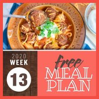 Meal Plan for Week 13 2020: March 23-27