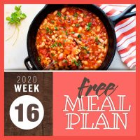 Meal Plan for Week 16 2020: April 13-17