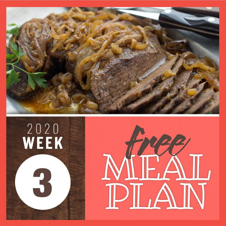 Sliced London Broil roast with onions on top in juices and text free meal plan week 3 2020