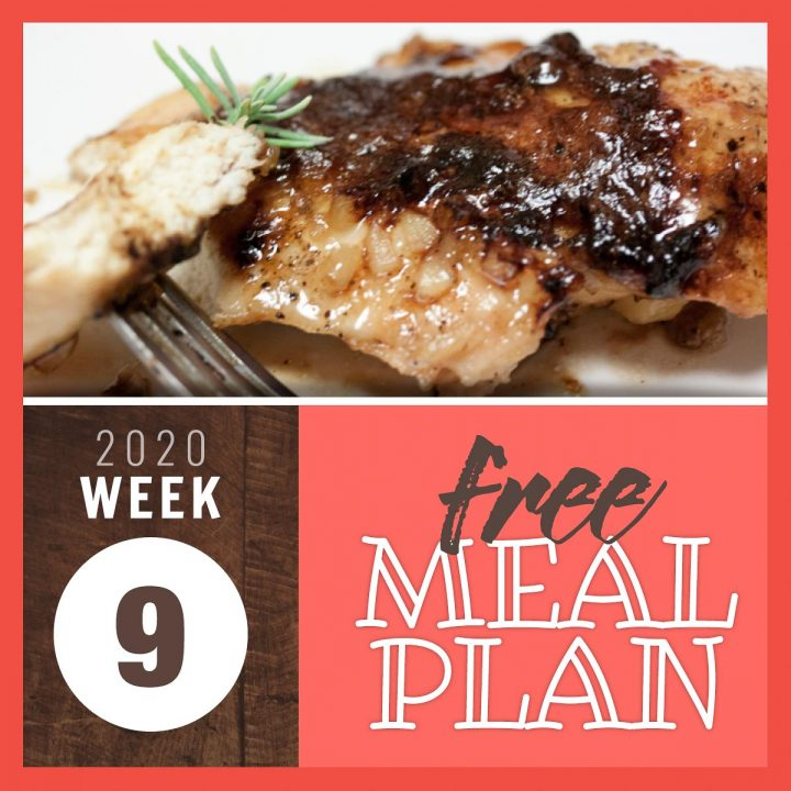 Image of cooked chicken breast with carmelized glaze and text Free meal plan week 9 2020