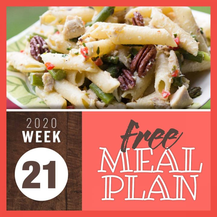 Image of penne pasta salad with chicken, asparagus, red bell pepper, and pecans with text Free Meal Plan Week 21 2020