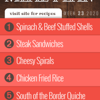 Free Meal Plan for Week 23 2020 (Visit Site for recipes): Spinach & Ground Beef Stuffed Shells, Cheesesteak Sandwiches, Cheesy Spirals, Chicken Fried Rice, South of the Border Quiche - Add Salt & Serve