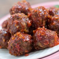 Barbecue meatballs on a white plate