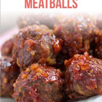 Barbecue meatballs on a white plate with text Tasty Barbecue Meatballs - Add Salt & Serve logo
