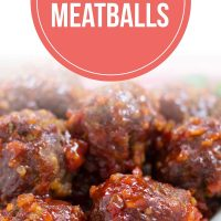Barbecue meatballs on a white plate with text Barbecue Meatballs - Add Salt & Serve logo
