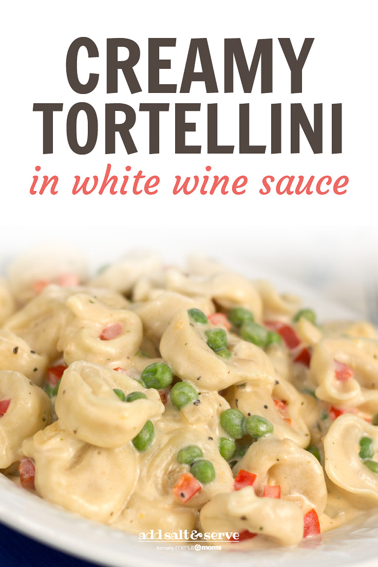 A white plate with tortellini, peas, and diced bell peppers covered in cream sauce. Text is Creamy Tortellini in White Wine Sauce - Add Salt & Serve logo
