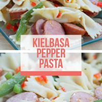 Composite image. Top is a plate of sliced bell peppers and sausauge and bow-tie pasta. Bottom is close up of sliced sausage, bell peppers and pasta. Text is Kielbasa Pepper Pasta - Add Salt & Serve logo