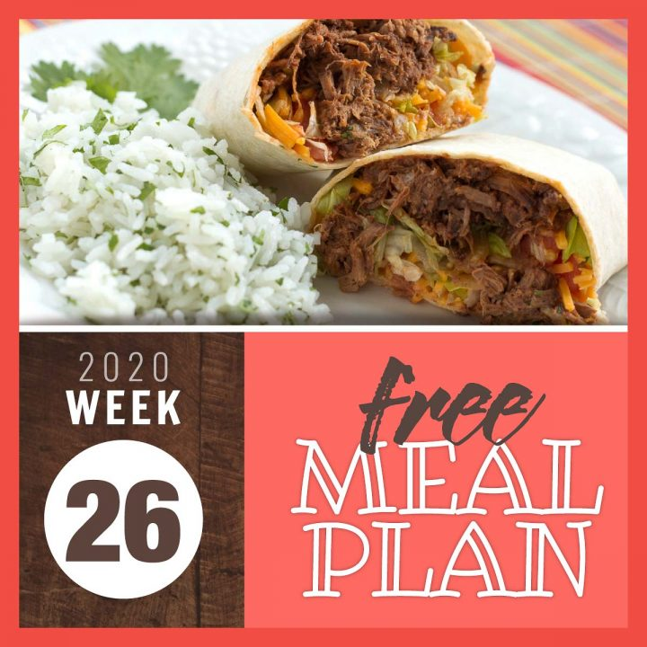 Image of shredded beef burritos next to cilantro lime rice with text Free Meal Plan Week 26 2020