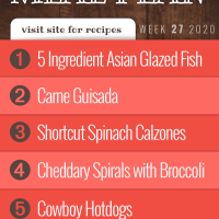 Free Meal Plan for Week 27 2020 (visit site for recipes): 5 Ingredient Asian Glazed Fish, Carne Guisada, Shortcut Spinach Calzones, Cheddary Spirals with Broccoli, Cowboy Hotdogs - Add Salt & Serve
