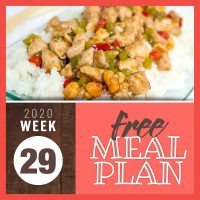 Meal Plan for Week 29 2020: July 13-17