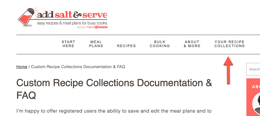 Screenshot of navigation menu dropdown with an arrow pointing to Your Recipe Collections